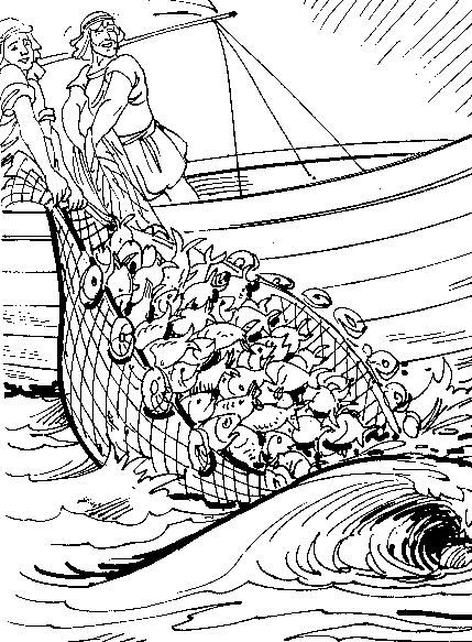 Jesus Miraculous Catch Of Fish Coloring Pages Coloring Pages
